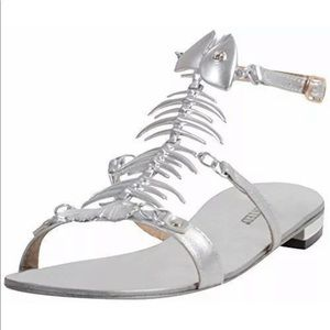 Wanted bonefish sandals new silver